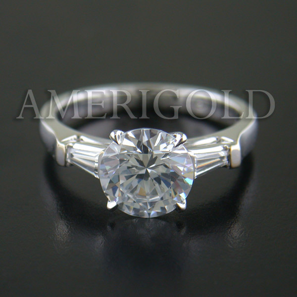 Round Diamond Center Three Stone Ring