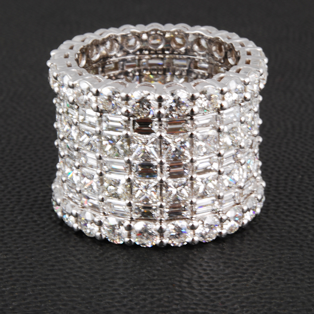 Handmade Princess Mulit Row Diamond Ring