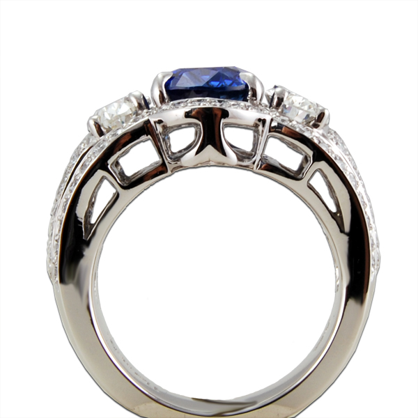 Blue Sapphire Diamond Custom Wedding Ring