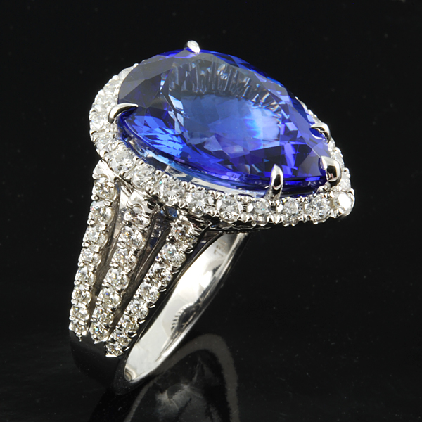 Blue Sapphire Pear Shaped Diamond Wedding Ring