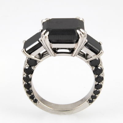 Black Emerald Diamond Ring Special Order